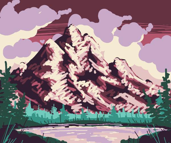 Mountain Scene (Bob Ross Style)
