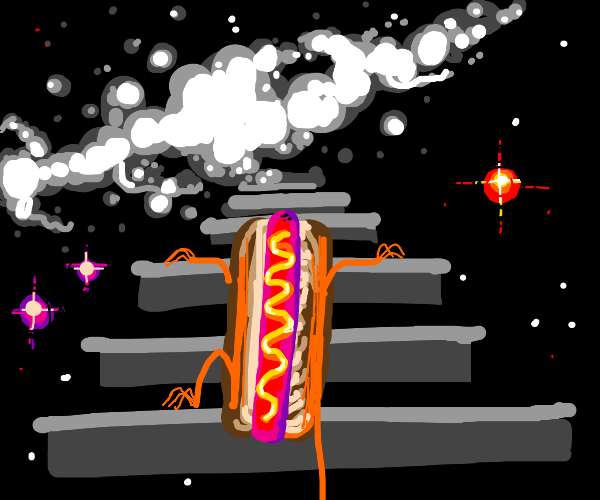 hot dog climbs the stairway to heaven