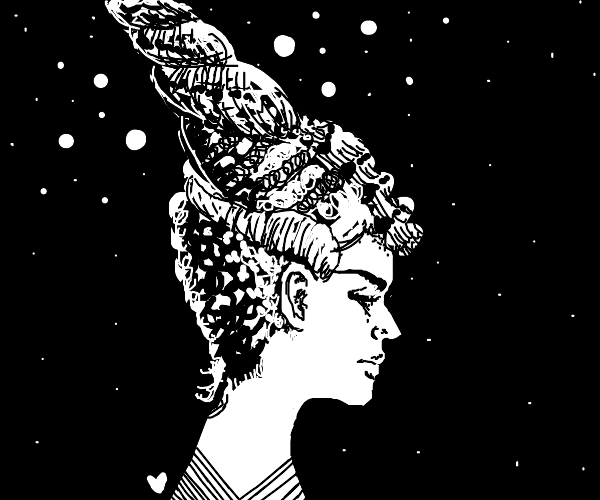woman with snail hair