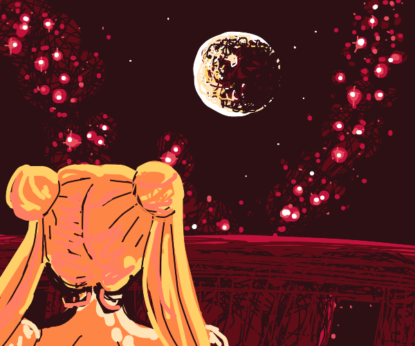 sailor moon looking out at the balcony