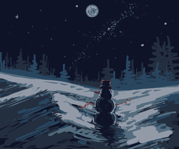 Snowman in the moonlight