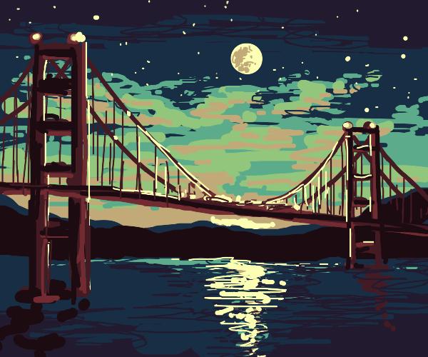 golden gate bridge in front of full moon