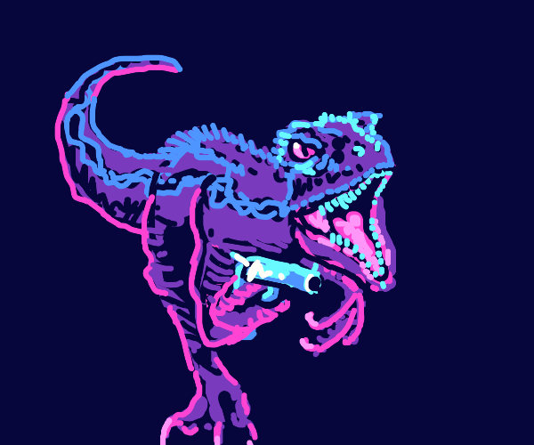 Blue (from Jurassic world) with a gun