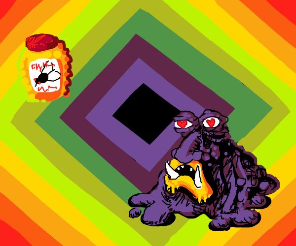 Honey-loving alien in a rainbow diamond
