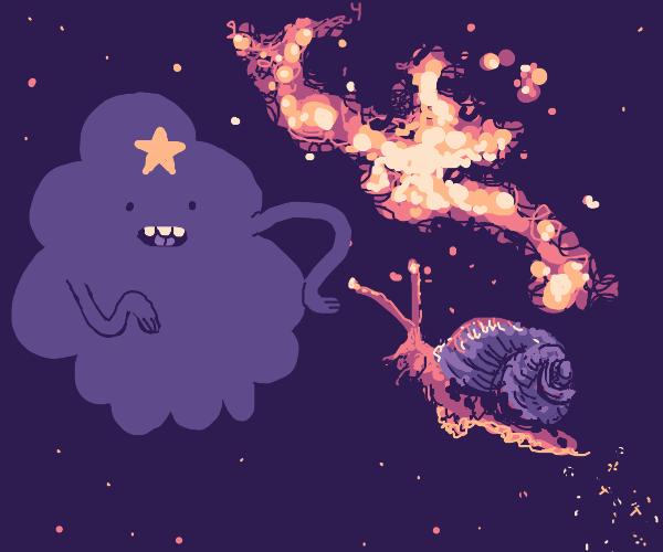 Snail flies into space to LumpySpacePrincess