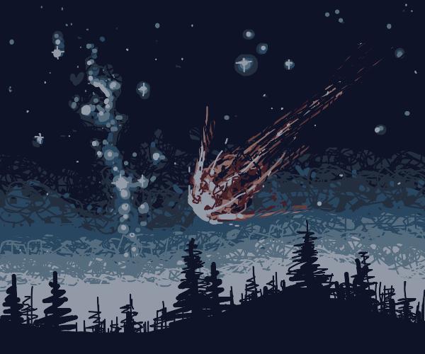 an asteroid hitting the dark forest mist