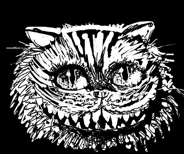 Creepy black and white Cheshire cat
