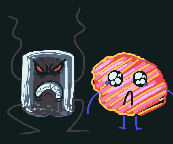Angry marshmallow and sad chip