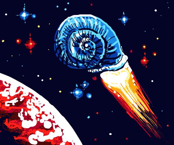 spaceship shaped like a snail's shell