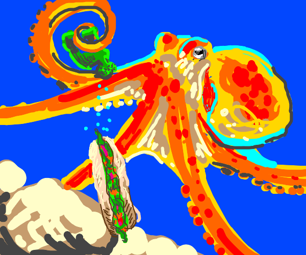 giant octopus watering a subway sandwich