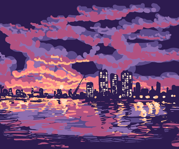 City at sunset