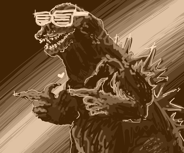 A very cool godzilla with sun glasses