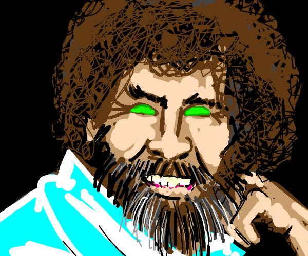 Bob Ross with cyan shirt and green eyes