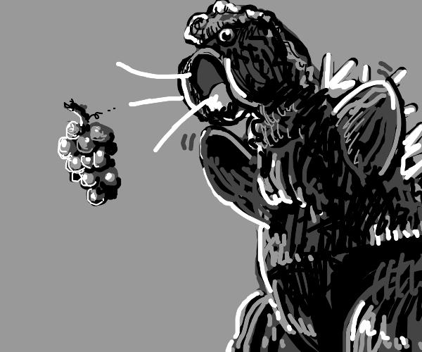 Godzilla sucking up grapes like kirby