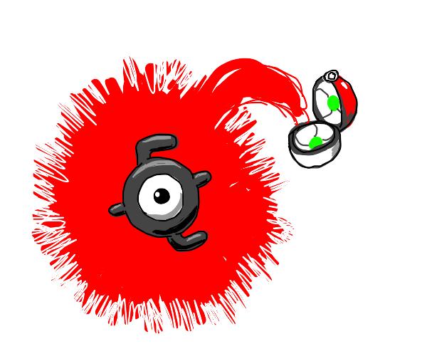 Unown Pokemen (E) coming out of Pokeball
