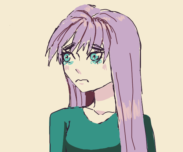 Purple haired anime girl is sad