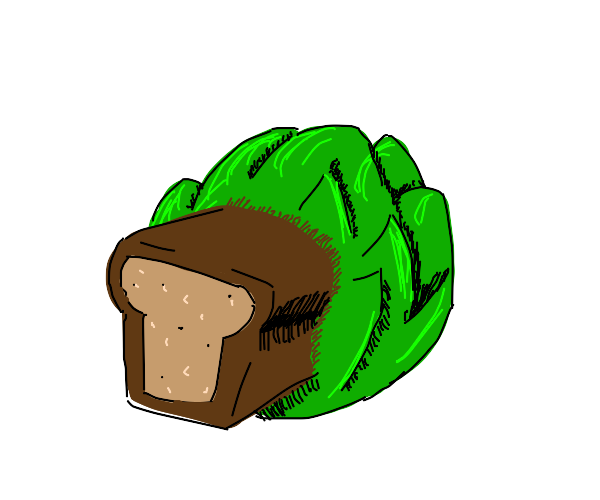 Loaf of bread stuck in a head of lettuce