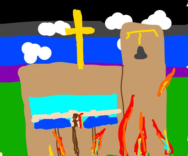 church burning down