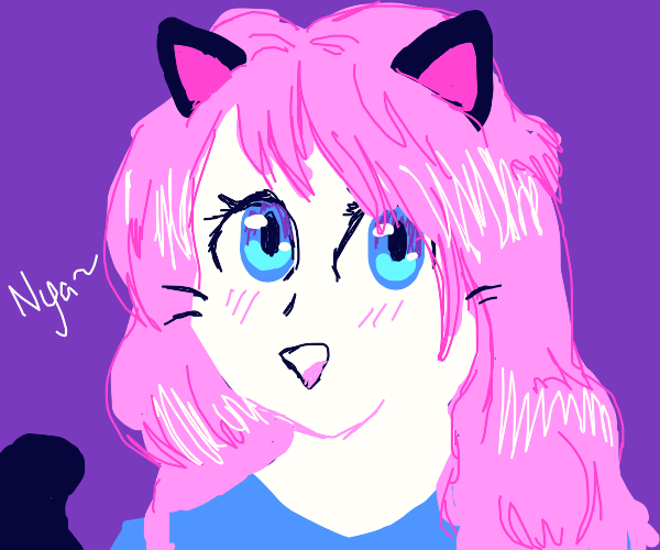 anime cat girl with long pink hair