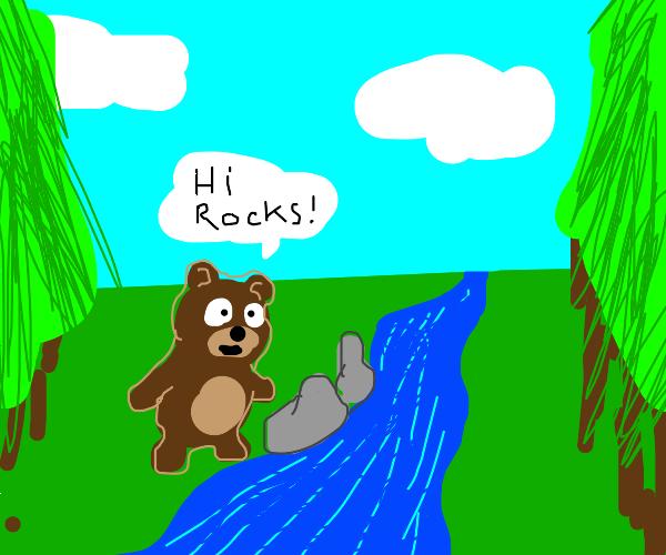 cute bear talking to rocks