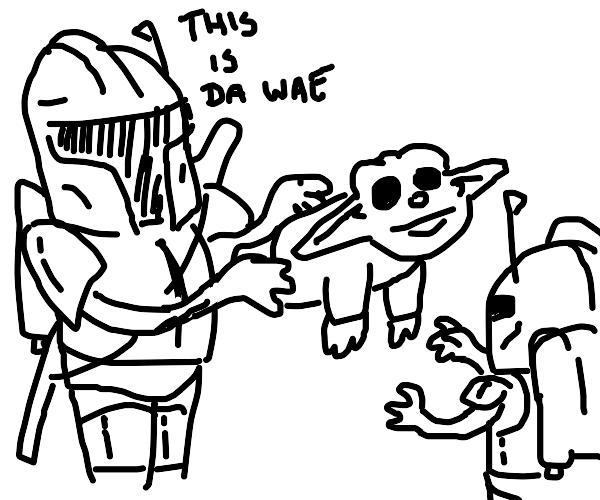 Mandolorian giving baby yoda to Mandolorian