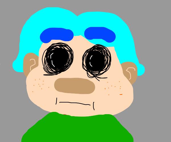 blue hair boy with empty eyes