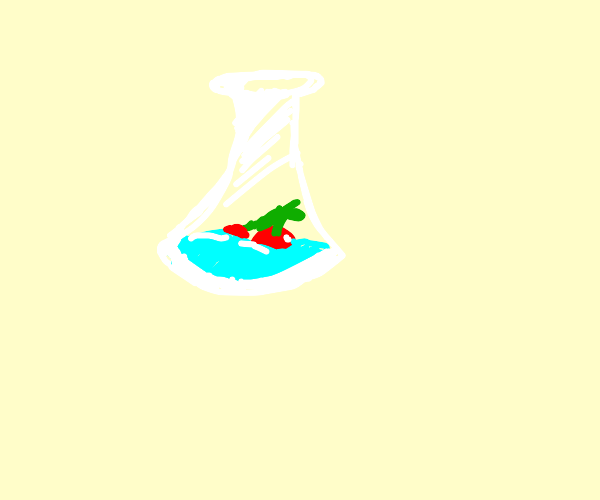 Cherry in water in Beaker