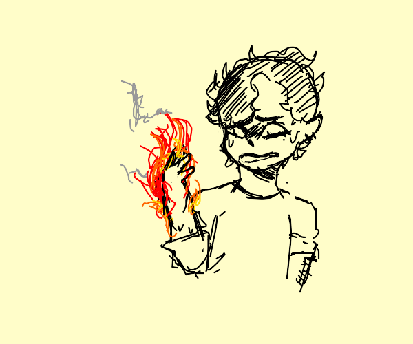 A guy's hand is on fire