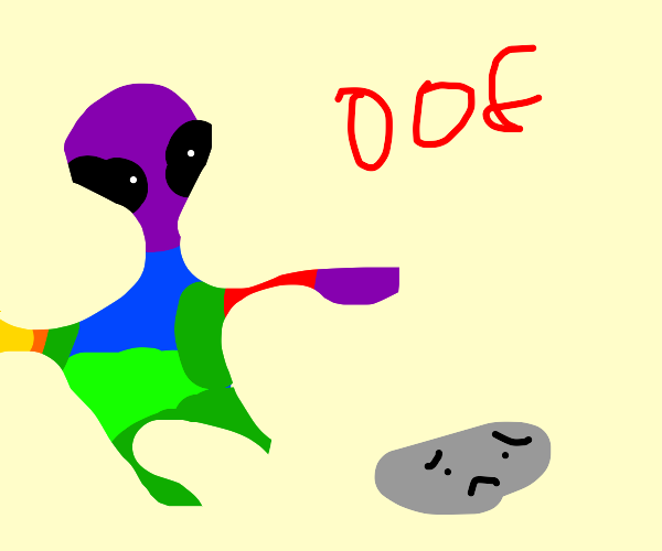 funky alien says oof to a rock