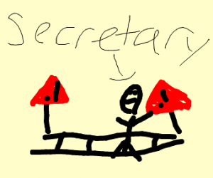 Secretary crossing the Tracks