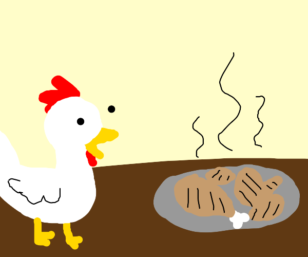 chicken is astonished about cooked brethren
