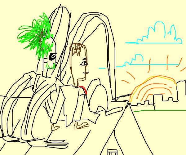 Beetlejuice and Kid President Watching Sun
