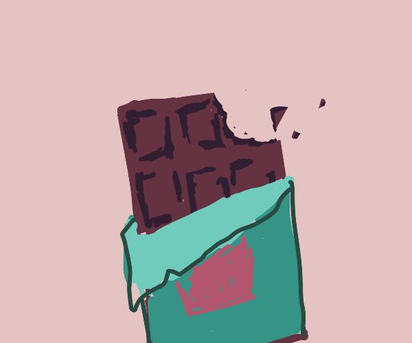bite taken from chocolate bar