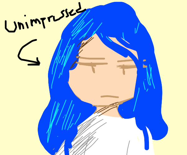 Unimpressed lady with blue hair & green eyes