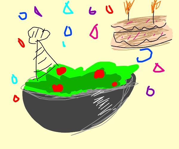Salad celebrating his second birthday