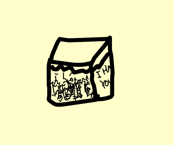 a minecraft cube full of hate
