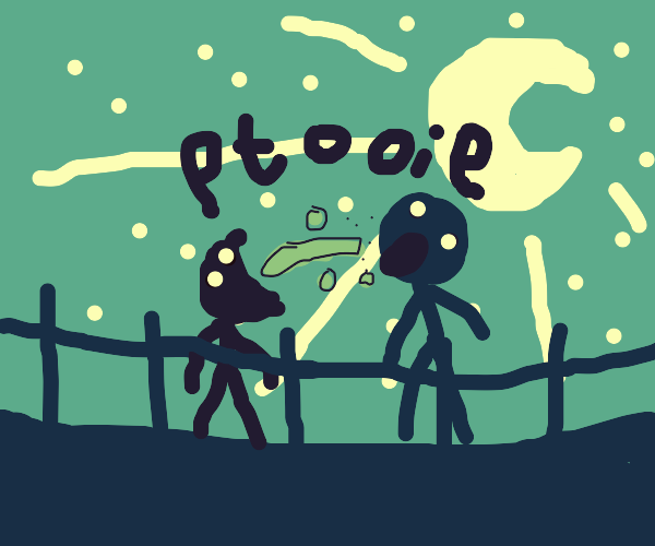 Spitting in someone's mouth under moonlight