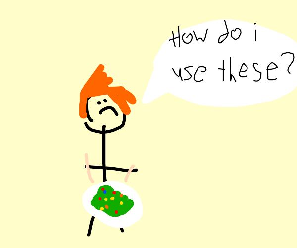 Ed Sheeran can't use chopsticks