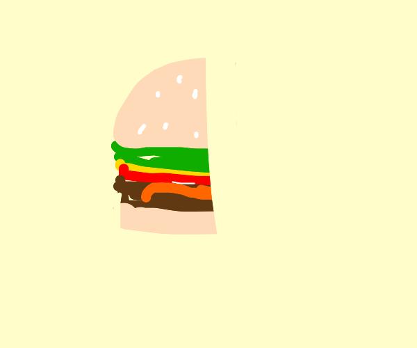 Half eaten burger