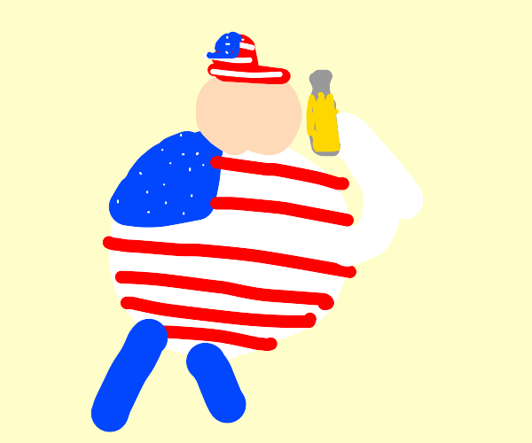 stereotypical fat american man drinking beer