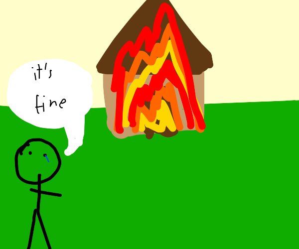 man crying becuz of house fire says its fine