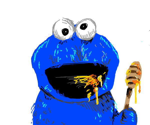 Cookie Monster is eating the honey
