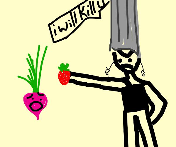 Polnareff threatens radish, using strawberry