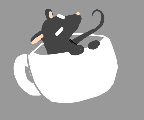 Mouse sitting in a mug, smoking a cigar