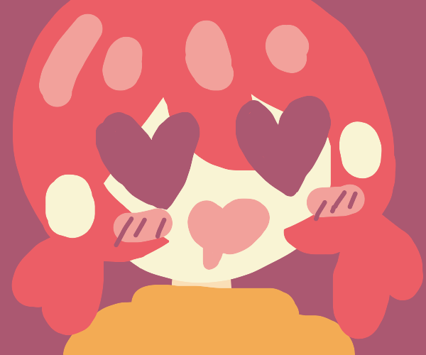 lovestruck person with pink hair