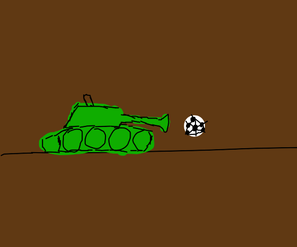 Green tanks shoots out football