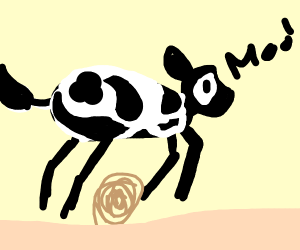 The cow jumped over the... tumbleweed?
