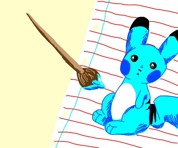 Paintbrush turns Pikachu into Pikablue