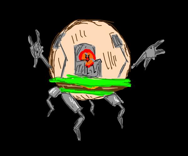 Tomato escapes its burger vessel!
