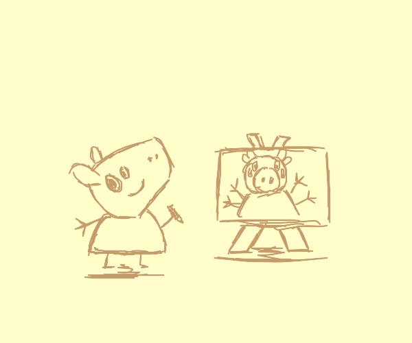 Peppa Pig drawing a self portrait